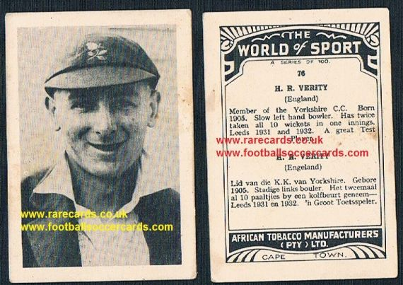 1930's South African Tobacco World of Sport cricket 76 Hedley Verity Yorkshire CCC Green Howards